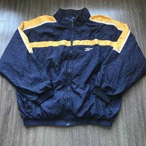 Vintage Reebok Windbreaker Jacket Blue Gold Mens